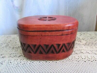 Rustic Handcarved Wood Box With Lid Cover