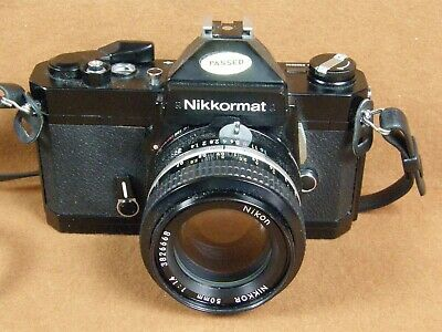 Nikon Nikkormat FT2 Black Body, 35mm Camera w/Nikkor 50mm F:1.4 Lens Very Good