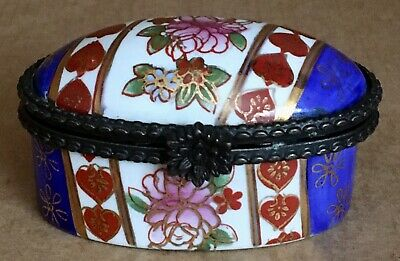 Vintage Limoges France-Hand Painted Paris Style Floral with heart iron clasp