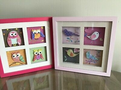 Owls & Birds Pictures 3D Decoupage Pink Multi. Ideal Girls Bedroom Nursery