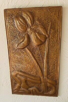 Art Nouveau Copper Panel Hammered Background Raised Floral Pattern Iris Flower