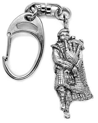 Solid Pewter Scottish Piper Key Fob Or Key Ring
