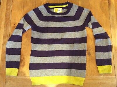 Mini Boden Boys Grey, Purple And Yellow striped jumper, aged 9-10 Years.