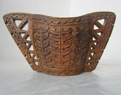 ANTIQUE WOODEN hand carved CUP W/ TWO HANDLES, art carving