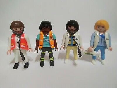 Playmobil Lot Of 4 Girl Figures medic rescue with oxygen cylinder (m)