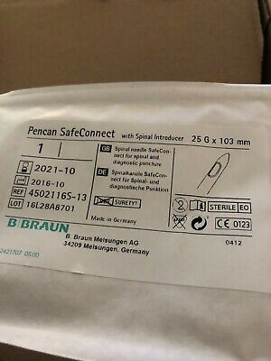 Spinal Needls SafeConnect For Spinal &Diagnostic Puncture  Box Of 25 G X 103mm