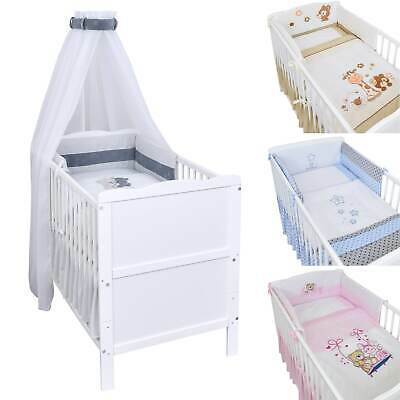 Babybett Kinderbett 2in1 Juniorbett 120x60 Weiß Bettset Stickerei komplett