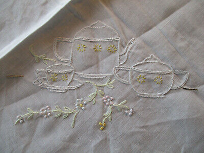 """""""Tea For Two"""" White Cotton Tablecloth 34"""" Square, Vintage"""