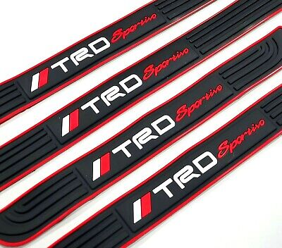 X4 TRD Black Rubber Car Door Scuff Sill Cover Panel Step Protector