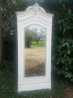 Antique French Armoire, Louis XV, Painted in Old White with Gold Accents