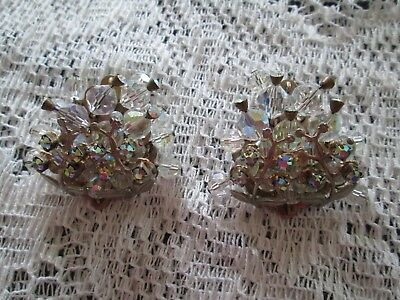 Antique Art Nouveau crystal glass cluster clip on earrings with flower vines