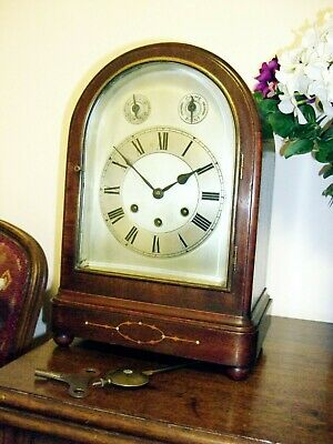 Gustav Becker Edwardian Mahogany 8 day mantel clock westminster chime c1907 GWO