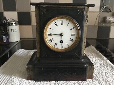 Slate & Marble Mantle Clock No Key Untested So Spares Or Repair Collection Only