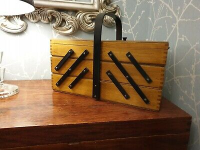 Vintage Wooden Cantilever Sewing box, Dovetailed corners, VGC