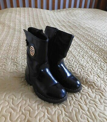 Toddler Black Faux Fur lining to toes Boots size UK9.5 EU27 US10