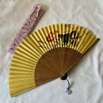 Korean Paper Traditional Hanji Bamboo Foldable Collectible Hand Painted Fan
