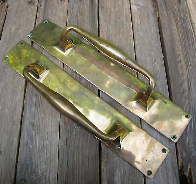 Large Old and Heavy Pair of Reclaimed Solid Brass Door Handle Pulls 15""