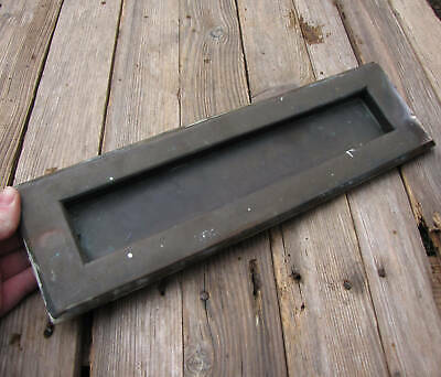 """Old Very Large and Heavy Bronze Letter Box Plate with WORKING SPRING 15"""""""