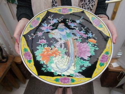 Vintage Large Japanese Wall Charger Plate Incised Decoration Birds Of Paradise