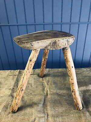 Vintage French  Wooden 3  Splayed Leg Milking Stool.