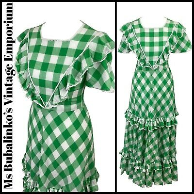 Size 4 VTG Maxi Dress 70s Green Gingham Check Tiered Frill Prairie Peasant Boho
