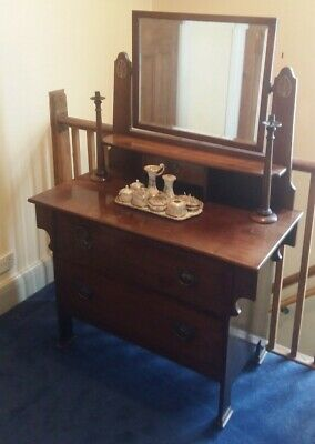 Arts & Crafts Mahogany Dressing Table With Mirror