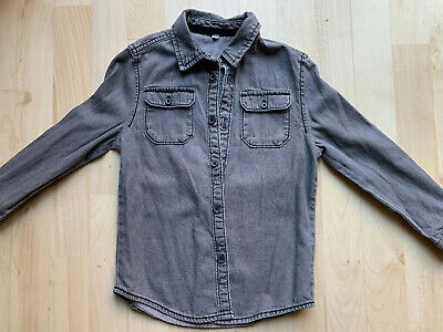 Boys Black Denim Shirt Age 6-7 From Marks And Spencer