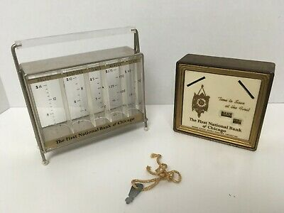 Two Vintage FIRST NATIONAL BANK of CHICAGO COIN BANKs  (one key that fits both)