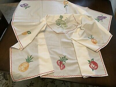 Vintage Kitchen Tablecloth Hand Embroidered Fruit Red Purple Green