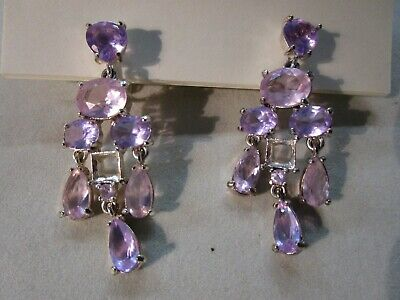 Chandelier Clip-On  Earrings Pink & Purple Crystals Silver Tone Dangle Drop