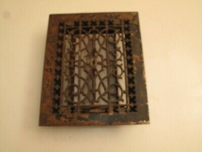 """Antique Ornate Cast Iron Heating Register Vent Cover Grate Victorian 11.75X9.75"""""""