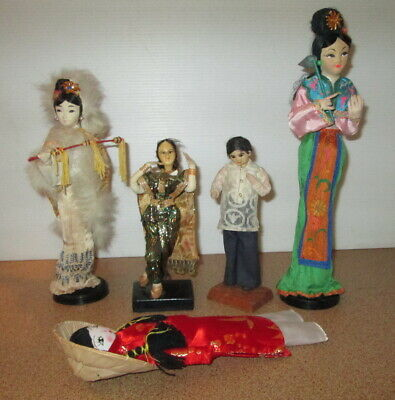 Vintage Doll Lot On Stands Oriental Costume Traditional Japanese Indian