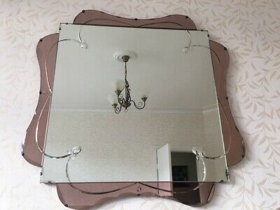 Beautiful Art Deco Pink/Peach Coloured Over Mantle Mirror - Excellent Condition
