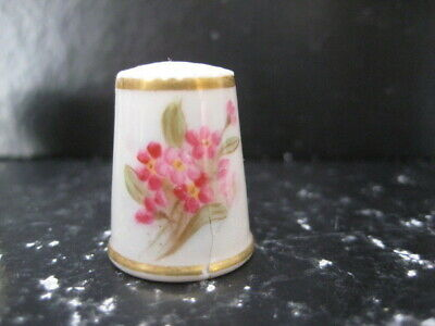 Very Rare C1890 Puce Mark Royal Worcester England Hand Painted Thimble Floral