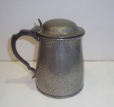 Antique Howard Hammered Pewter Tankard Walker Hall Arts Crafts