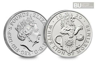 2020 UK Queen's Beast White Lion of Mortimer CERTIFIED BU £5 coin