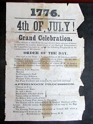 Original 1850 Whimsical 4Th Of July Salt Point New York  Flyer Poster