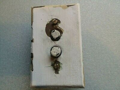 """Antique Push Button Light Switch With Brass Cover  """"As Is""""  Non Working H&H"""