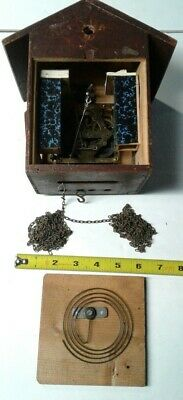 German Black Forest Cuckoo Clock Parts 1 Day Brass Movement marked UNEX Germany