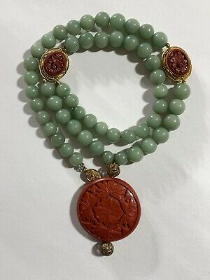 """ANTIQUE pale green JADE and CINNABAR necklace 24"""" length ESTATE FRESH"""