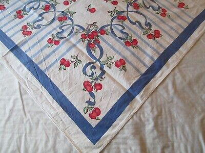 Vintage Small Tablecloth Red Cherries