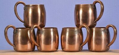Set of 6 West Bend Co. Solid Copper Coffee / Moscow Mule Mugs.