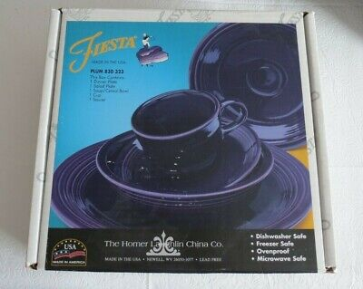 Retired NOS Homer Laughlin Fiestaware Plum 5 piece place setting in box