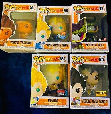 New Dragonball Perfect Cell Metallic Game Stop Exclusive and 4 Vegeta Funko Pop