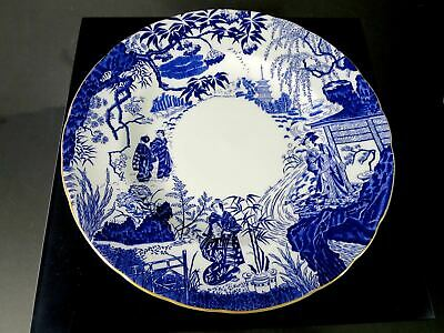 """1994 Royal Crown Derby BLUE MIKADO Scalloped Dinner Plate 10.5"""""""