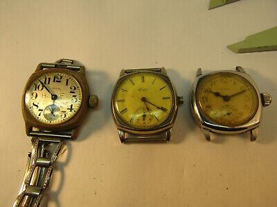 3 1920'S Cushion Shape Elgin Watches For Restoration Or Parts With Good Balances