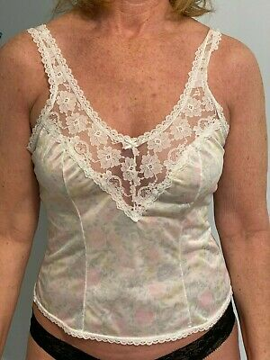 VTG Beautiful Ashley Taylor Floral Print with Lace Camisole  Large Made in USA