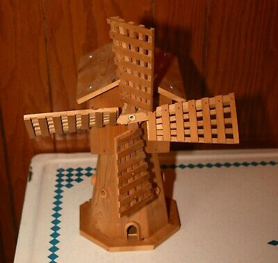 "Hand Crafted 12 3/4"" Wooden Windmill Music Box"