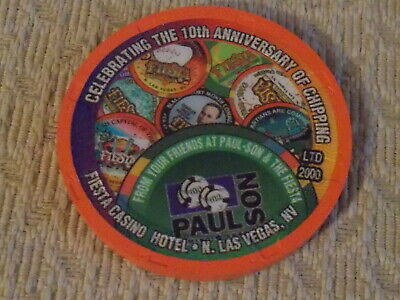 FIESTA CASINO 1998 CELEBRATING THE ANNIVERSARY OF CHIPPING gaming poker chip