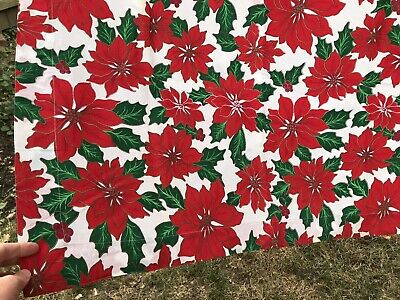 "VTG Tablecloth Christmas Cotton Large Bright Red Poinsettia 54"" x 68"""